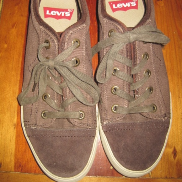 fd9ec8c222 Levi's Shoes | Levis Sneakers Brown Canvas Suede Leather | Poshmark